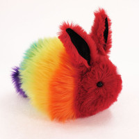Rainbow Rabbit Stuffed Faux Fur Plushie Momma Size