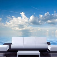 "Wall STICKER MURAL sky sea clouds air blue decole film poster fantasy 158x106""/4x2,7m"