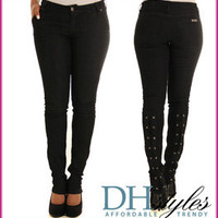 Geo-PS17-Black Denim Trendy Laced Up Skinny Jeans
