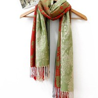 Cheap 2012 new nepal gorgeous floral green plus size scarf shawl sw0124 [sw0124]- US$18.90 outlet free shipping with top quality - scarves4ever.com