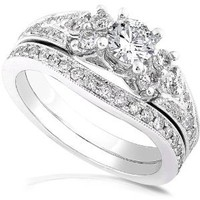 1.00ctw Round Brilliant Diamond Wedding Ring Set in 14Kt White Gold (HI/I1-I2)
