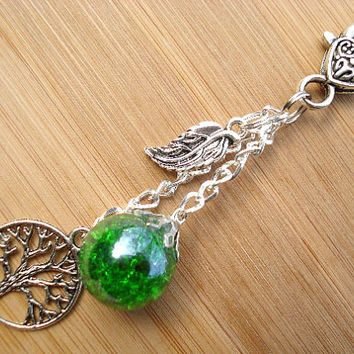 Tree of Life Green Leaf Crackle Glass Marble Keychain