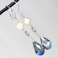 Faceted Pearl And Crystal Earrings, Simple Sterling Silver Drop Style