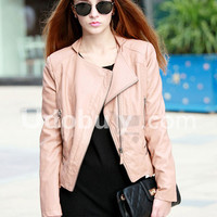 Zipper Leather Jacket Pink$119.00