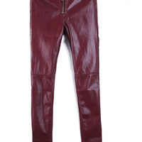 Red High Waist PU Leather Pants$40.00
