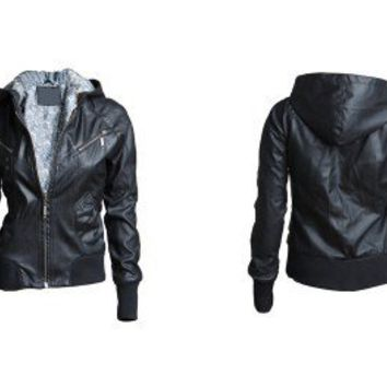 New Women Punk Bomber PU Leather Jacket Hoodie XS~L
