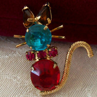 Vintage Cat Brooch Turquoise Blue Ruby Red Topaz Color Rhinestones Prong Set