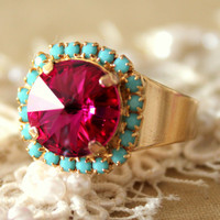 Pink Turquoise adjustable ring - 14k plated gold adjustable ring real swarovski rhinestones .
