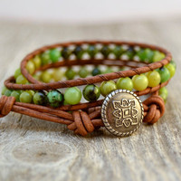 Earthy green wrap bracelet. Beaded jade leather wrap. Double wrap bracelet.
