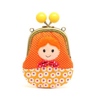 Orange felt applique Russian doll clutch pouch
