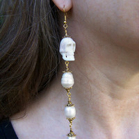 Pirate Wedding Earrings - Carved bone skull and pearl earrings