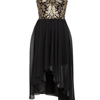 Urban Bliss Black and Gold Foil Strapless Dip Hem Dress