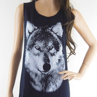 Wolf Art Design Wolf Tank Top Wolf Shirt Fox Shirt  Women T-Shirt Black T-Shirt Screen Print Size S