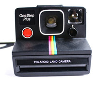 Vintage Polaroid OneStep Plus Camera -  SX-70 Instant Photography Black Land Camera / Iconic Rainbow