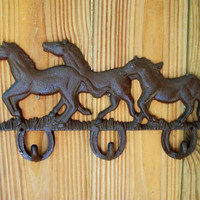 Cast Iron Horses Running Wall Hook 3 Hooks coat by lilcottage123