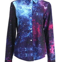 ROMWE | Single-breasted Stars Print Shirt, The Latest Street Fashion