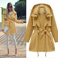 Joeen Winter Breeze Rain Coat Jacket ~ Soho Modern Yellow Trench 25-C123 L