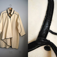 The Frost - Vintage 80s White Wool Asymetrical Cape Ruffle Coat Jacket Black Piping
