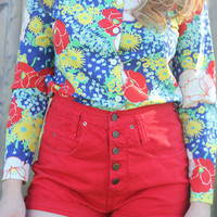 Cherry red high waisted shorts | Portland to Portland Thrift
