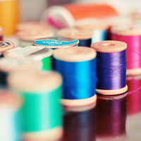 Sewing Thread Photograph,  8x10  Print, Mint, Blu,e Pink, Craft Room Decor, Still Life