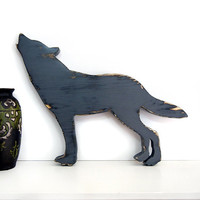 Wooden Wolf (Pictured in Grey) Pine Wood Sign Wall Decor Rustic Americana French Country Chic