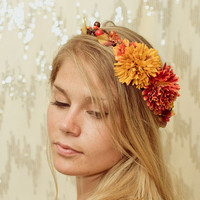 Autumn Harvest Crown - orange, yellow, rustic