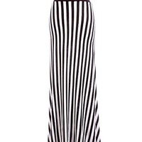 ELONGATiNG HiGH WAiST STiPED MAXI SKiRT JERSEY BEETLEJUICE BANDED WAIST LONG