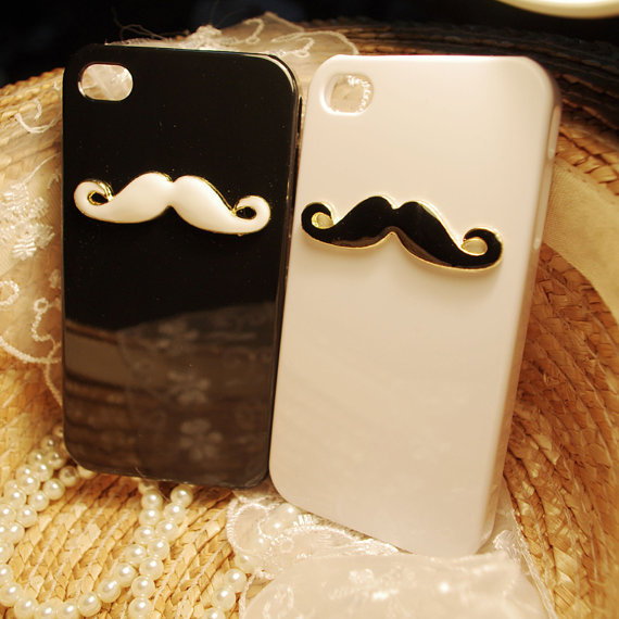 iphone 4 case, mustache iphone 4 case, from MosterCases on Etsy