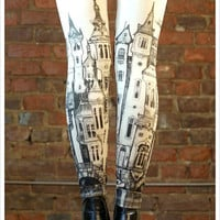 Victorian City Leggings - Womens Off White Legging tights