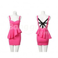 Sexy Charming Women 's Cross Strap Bare Back Low Cut Clubwear Mini Dress Free Shipping!  - US$12.50