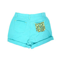 Sale / 30w / GOLD STUDDED SHORTS / High Waist Teal