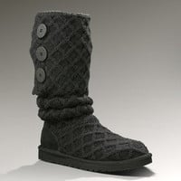 NEW! Slouchy patterned knit uggs COLOR BLACK size 10 super cute!