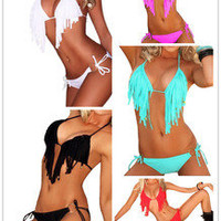Women's Sexy Bikini Top Set Fringed Bra Tassels Swimwear Ribbon Lingerie