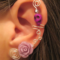 Non Pierced Ear Cuff - Skull & Rose Great Statement Cuff