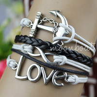 Anchor bracelet,Bracelet--  infinity bracelet, Love bracelet, braid leather bracelet