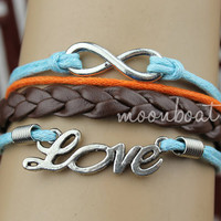 Bracelet-Ture love will go on bracelet,silver love bracelet,infinity wish