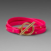 Gorjana Graham Leather Studded Wrap Bracelet in Neon Pink from REVOLVEclothing.com