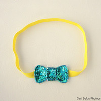 Mint Green/ Bright Yellow Sequin bow headband  inspired by Ban.do headband as seen on Taylor Swift one size fits all