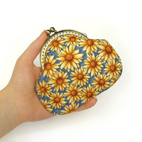 Coin purse - Yellow flowers - Blue, honey, yellow cotton fabric with metal frame