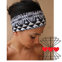 SALE- Aztec print Headband- Black and white