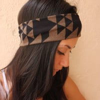 Tribal Aztec headband-Brown and black