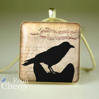 cat scrabble tile necklace,crow jewelry pendants,resin pendants,black white- A0196SI