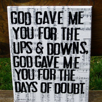 11x14 &quot;God gave me you&quot;  Blake Shelton -  Lyrics, vintage sheet music - Country Music