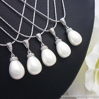 SET of 3 Bridesmaid Wedding Necklaces Bridal Pearl Jewelry White Shell Based Pearl Tear Drop with Cubic Zirconia Necklace