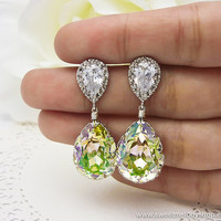 Wedding Bridesmaid Earrings Bridal Jewelry Bridesmaid Jewelry Luminous Green Swarovski Crystal Teardrops &amp; Cubic Zirconia NEW COLOR
