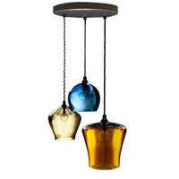 Hand Blown Glass Pendant Light - 3 Shade Chandelier