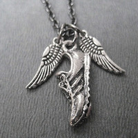 I Run with Wings on the Soles of my Shoes - Pewter Wings and Running Shoe Necklace on 18 inch gunmetal chain - Running Jewelry