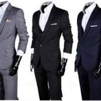 Men&#x27;s Skinny Notch Lapel Suit Set (Blazer, Trousers and Vest)