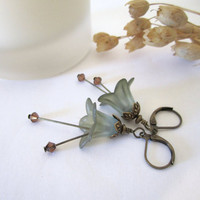 Flower Bead Earrings (Lily) - Lucite - Sage Green - Dangle by 636designs