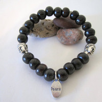 Stone Bead Bracelet with Buddha Beads and Peace Charm by 636designs